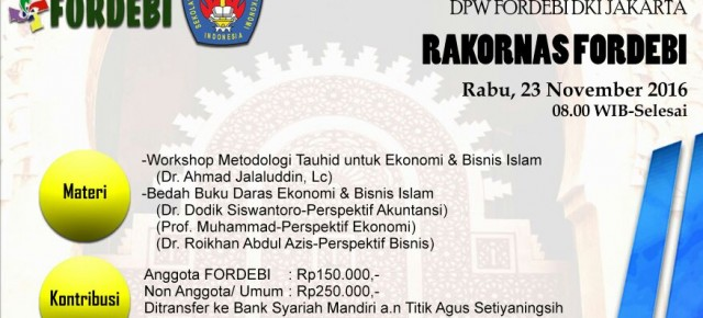 Workshop Metodologi Tauhid dan Pelantikan DPW FORDEBI DKI Jakarta